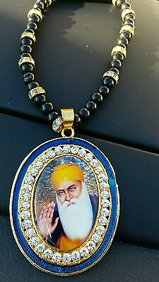 Gold Plated Punjab Sikh Guru Nanak Pendant Car Rear Mirror Hanging Mala   Blue