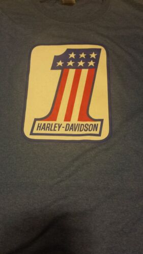 Vintage 1970's Harley #1 Motorcycle Bike T Shirt Red/White/Blue Evel Knievel