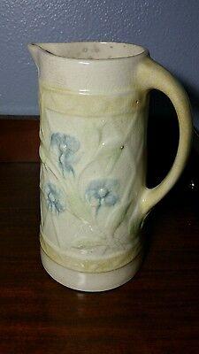 Antique Salt Glazed Pitcher Embossed Ceramic Yellow & Blue Flowers