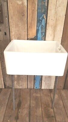 Used, Original vintage butlers Belfast farmhouse kitchen sink & cast iron stand 24x18 for sale  Tamworth
