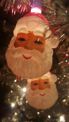 vintage Christmas Santa head blow mold string light covers