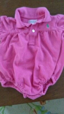 Baby girl polo ralph lauren pink short sleeved romper bubble size 9 months