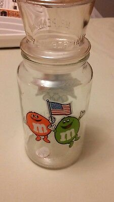 1984 M&M's Olympics Chocolate Candies glass jar USA Flag orange green LA XXIII