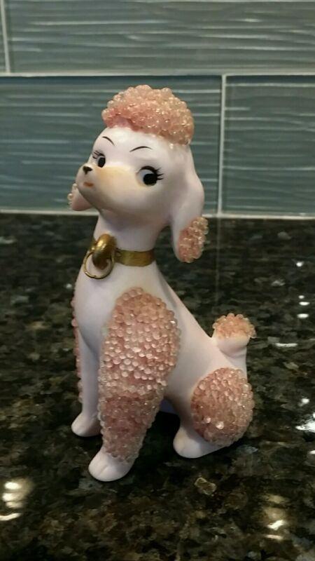 """Sweet VINTAGE PINK POODLE DOG Porcelain Figurine Made in Japan Gold 4.5"""" high"""