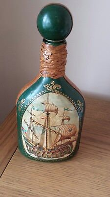 Italian Leather covered liquer bottle