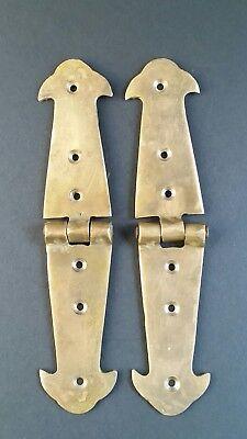"Pair Brass Rustic Hinges Antique Vintage Style Door Trunk Box Lid 5 3/4"" #X1"