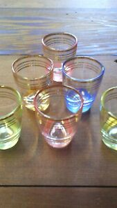 Six mid century French shot glasses harlequin  coloured glass vintage full set
