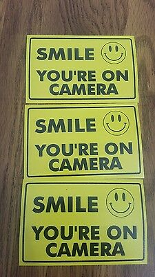 - VIDEO SURVEILLANCE Security Decal  Warning Sticker (smile you're )set of 3 pcs .
