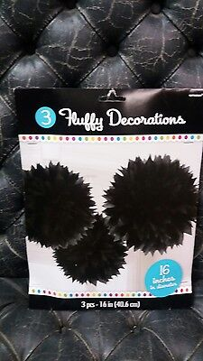 Halloween BLACK TISSUE PAPER PARTY HANGING DECORATIONS NEW LARGE  (Halloween Tissue Paper Decorations)