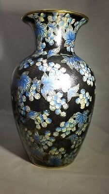 Andrea Sadek Hand Painted Grapes & Vines Ceramic Vase Black, Gold, Green, Blues