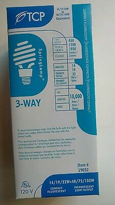5 Brand New TCP 19032 3-Way Compact Fluorescent Spring Lamp Bulb 40W/75W/150W 150w Compact Fluorescent Bulb