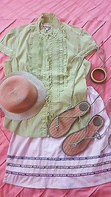 Complete Beach Weekend Outfit Women's Size M Skirt Top Hat Sandals 8 & Bangle - Complete Womens Outfits