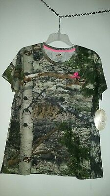 NWT MOSSY OAK Woman's SHORT Sleeve  CAMO Tee Shirt Size Large