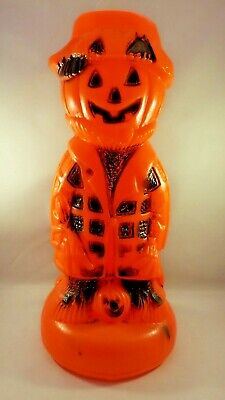 Vintage Halloween Scarecrow Plastic Blow Mold Light lamp Pumpkin Jack-o-Lantern