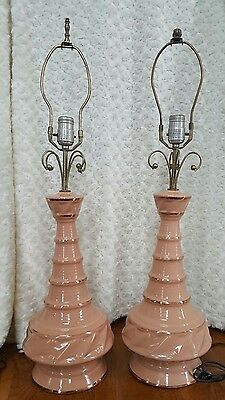 VINTAGE Mid-century Table Lamps Set of 2 Ceramic Apricot Color with Gold Trim