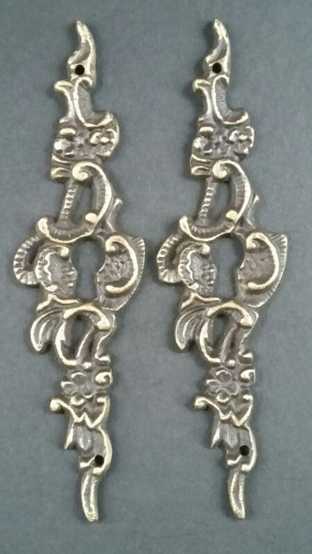 "2 Vintage Antique Style Ornate French Eschutcheons Key Hole Covers 4"" #E14"