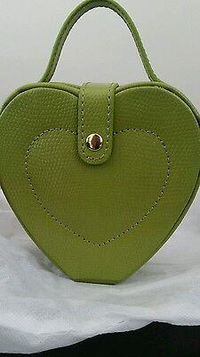 Budd Leather Lizard Print Heart Shaped Jewel Box With Handle Lime Green