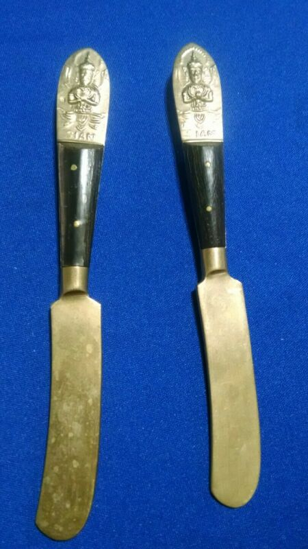 """Vintage Brass Siam Cutlery Butter Knives Spreaders 2 pcs. 6"""""""
