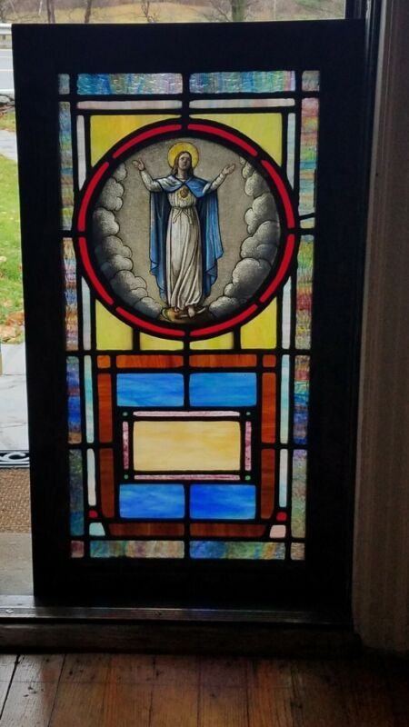 ANTIQUE STAINED GLASS WINDOW, ST. MARY