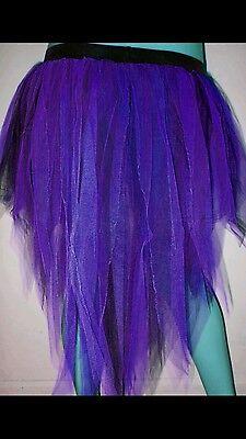 Purple black 7 Layer Peacock Tutu Trashy Party Club Halloween Night Christmas  (Peacock Skirt Halloween)