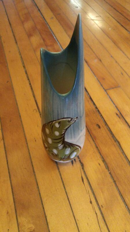 Vintage Sascha Brastoff Hand Painted Alaskan Seal  Mid Century vase rare