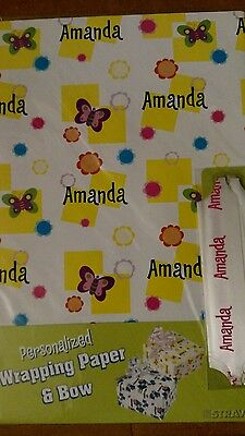 Personalized birthday gift wrap wrapping spring butterflies NIP Amanda