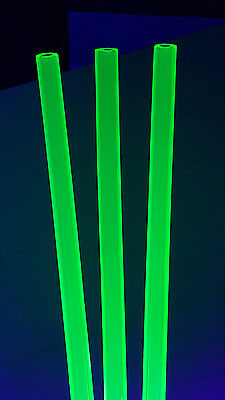 2 Pc 12 Od X 14 Id X 12 Long Clear Green Fluorescent Acrylic Plexiglass Tube