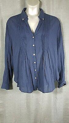Antilia Femme Womens 3X Plus Size Navy Blue Button Front Long Sleeve Shirt New