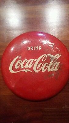"Vintage 12"" Coca-Cola Soda Pop ""DRINK"" Advertising ""Button"" Tin Round Sign 1940"
