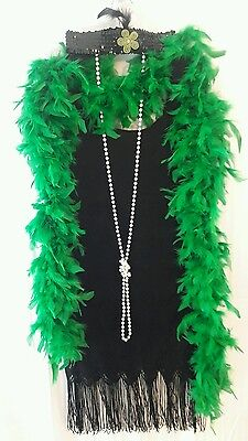 1920's FLAPPER Costume Black Lace Fringe w/Feather Boa- Necklace- Hair Band