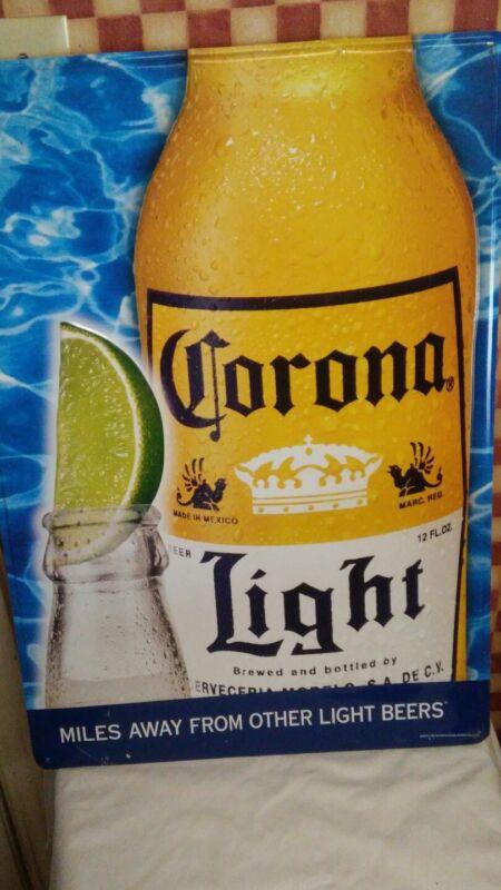LARGE CORONA LIGHT BEER METAL SIGN