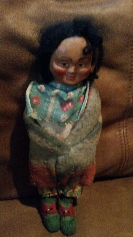 "Skookum doll Indian Antique Native American Folk Artifact w/ navajo blanket 10"""