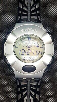 Swatch Vintage Irony Beat WEBSTREAM BLACK Quartz Watch 1999 Fall Winter...