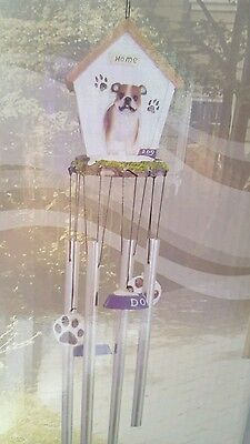 Bulldog Wind Chime Dog Days Doghouse Soothing Sounds Outdoor Patio Garden Decor