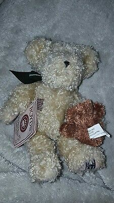 """Boyds Bears Plush Elder with Newton 8"""" Teddy The Head Bean Collection Mohair"""