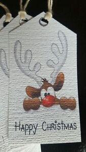 Christmas Gift Tags. Cute Reindeer. Hand Made. Pack of 10
