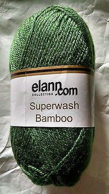 Elann Superwash Bamboo solid green yarn knitting 1 skein wool bamboo blend NIP