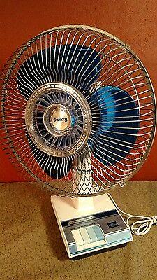 "Vintage 12"" Galaxy oscillating Desk Fan 3 Speed Blue Blade"