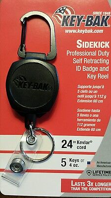"KEY-BAK Carabiner ""Sidekick"" ID Badge and Key Reel holder -Brand New"