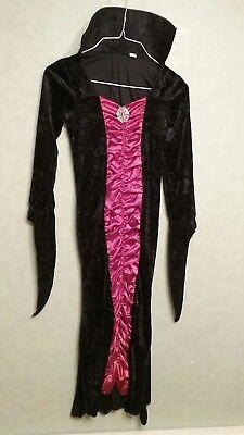 Girls Vampire Dracula Costume Large Dress Detatchable Collar Velvet Style