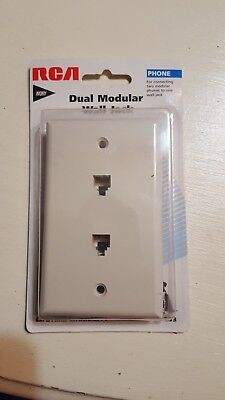 RCA Modular Dual Port Wall Plate with RJ11 Jack, ivory Dual-port-wall Plate