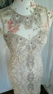 Vtg 1920,s style Downton Gatsby nude beaded wedding flapper dress size 8