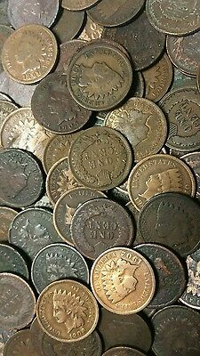 Old 1800's to 1900's Indian Cents, Ten Very Old Pre-1909 Indian Cents !!