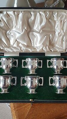 Solid Silver Set of 6 Two Handled Cups 1913