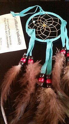 "Mae Stone Authentic Native American Navajo Dream Catcher Leather 3 "" #DCT24"