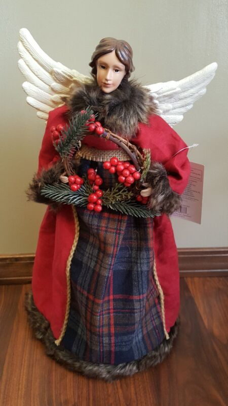 """Red Angel Tree Topper Red Brown Fur Trim Woodland Wreath 16"""" Table Top NEW"""