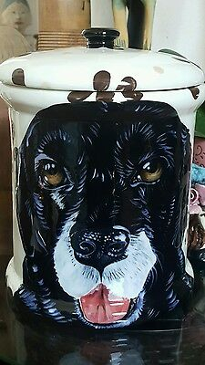 Custom Ceramic DOG TREAT Cookie Jar black lab large Labrador Retriever