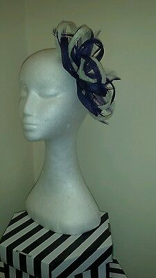purple and cream / ivory fascinator for wedding/races special occasion