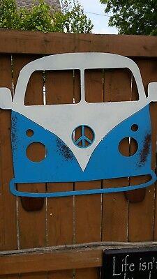 Retro-van (Retro Van Metal Sign 70's Hippie Decor Industrial Wall Art Rusted Bus Peace Sign)