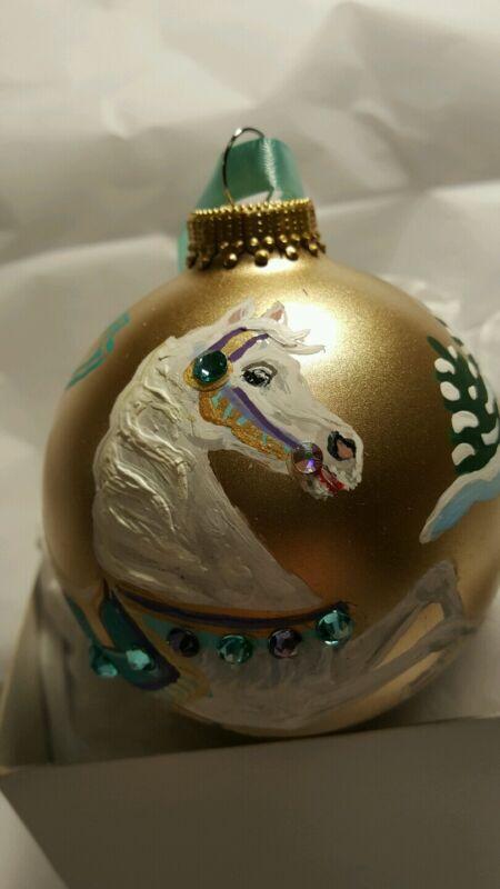 CAROUSEL HORSE DECEMBER BIRTHSTONE ORNAMENT